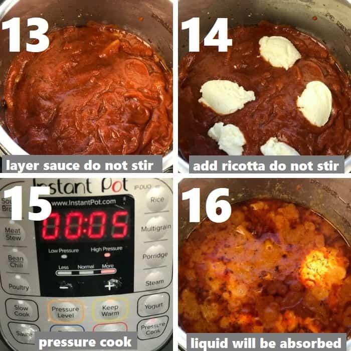 pressure cooking ziti pasta in instant pot