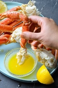 dipping one steamed snow crab leg in butter sauce