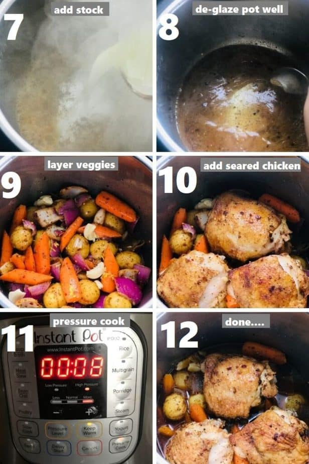 pressure cooking chicken thighs & vegetables in instant pot
