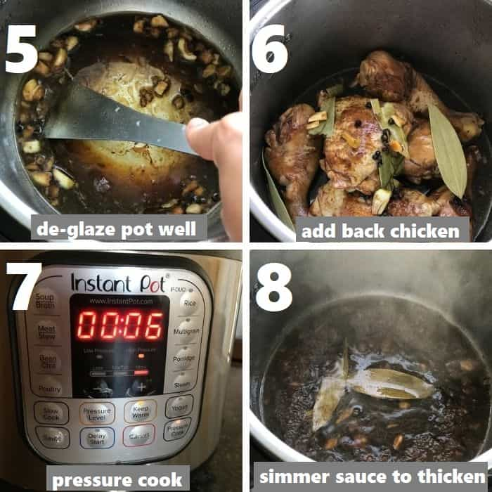 pressure cooking chicken in instant pot & thickening sauce
