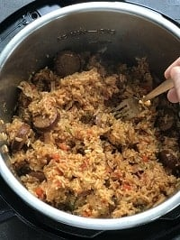 fluffing rice with fork in instant pot