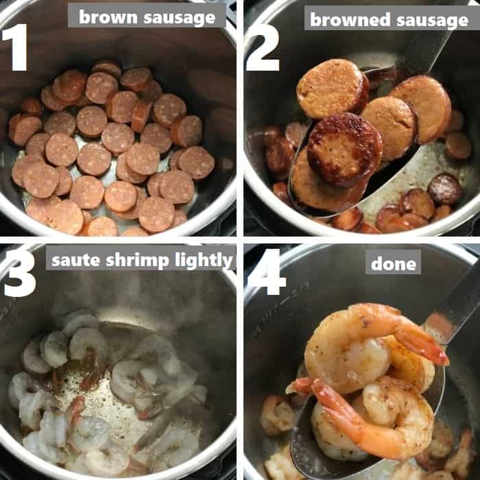 browning sausage and sauteing shrimp in instant pot