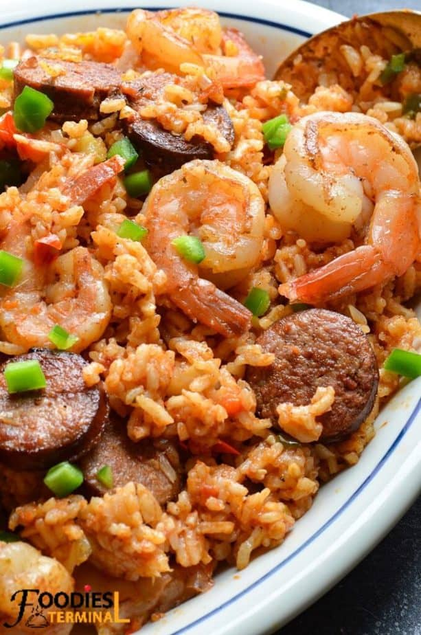 pressure cooker Louisiana jambalaya in a white plate with a spoon