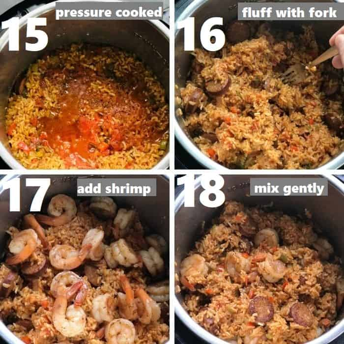 fluffing cooked jambalaya in instant pot