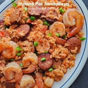 instant pot jambalaya shrimp sausage served in a white plate