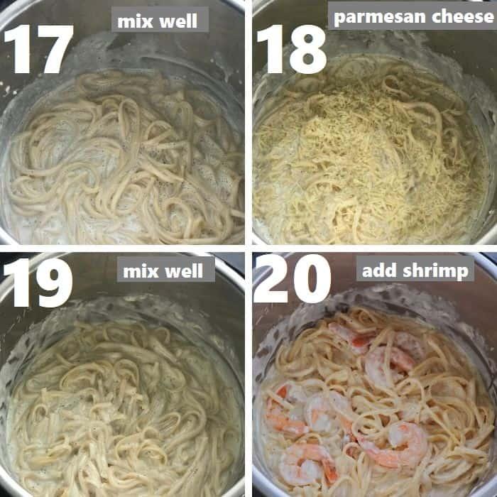 preparing creamy alfredo sauce in instant pot and adding shrimp