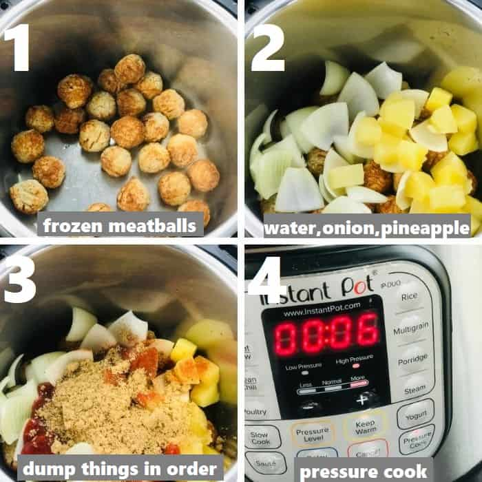 dump and cook frozen meatballs with other ingredients in instant pot