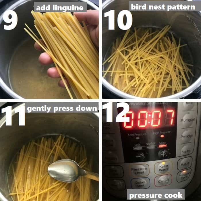 pressure cooking linguine pasta in instant pot