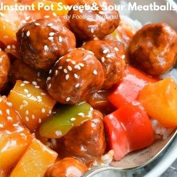 instant pot sweet and sour meatballs with pineapple on top of white rice