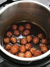 pressure cooked grape jelly and bbq sauce frozen meatballs in instant pot