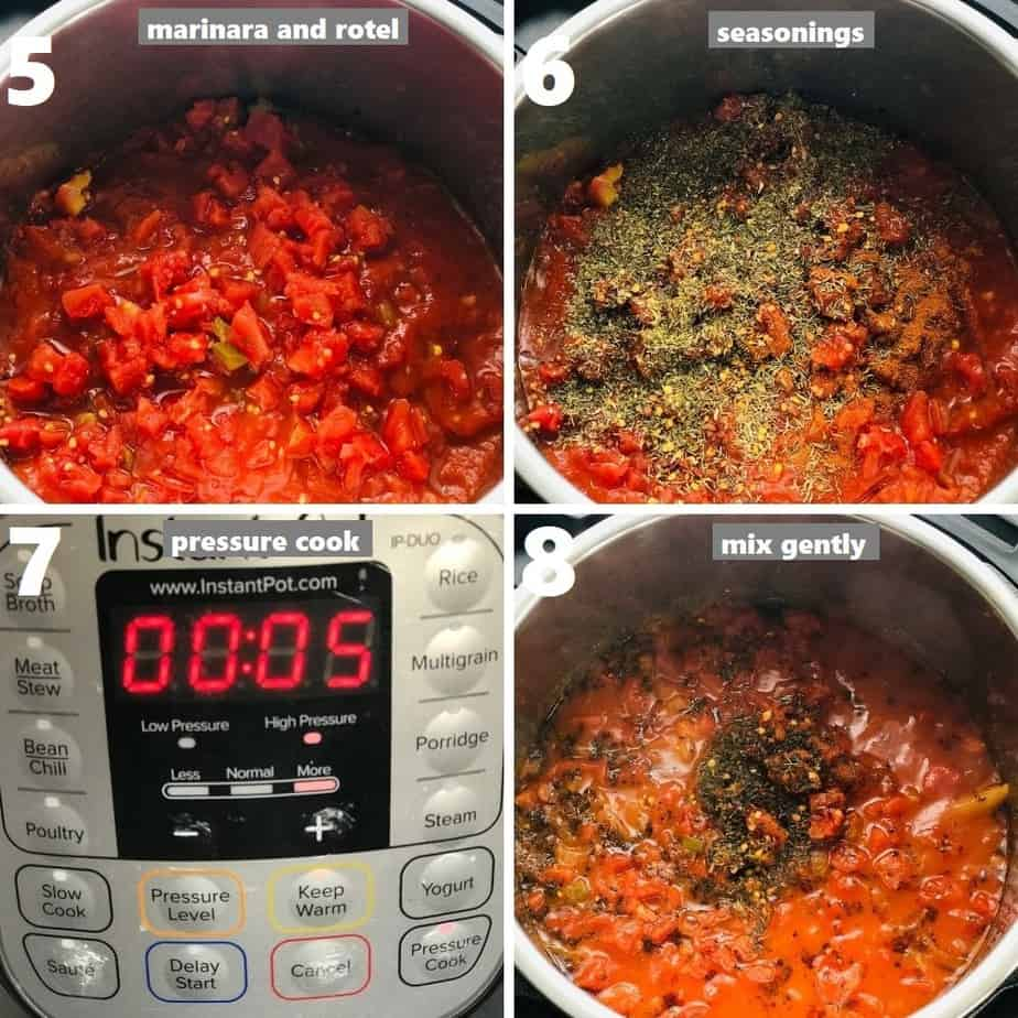 pressure cooking penne and meatballs