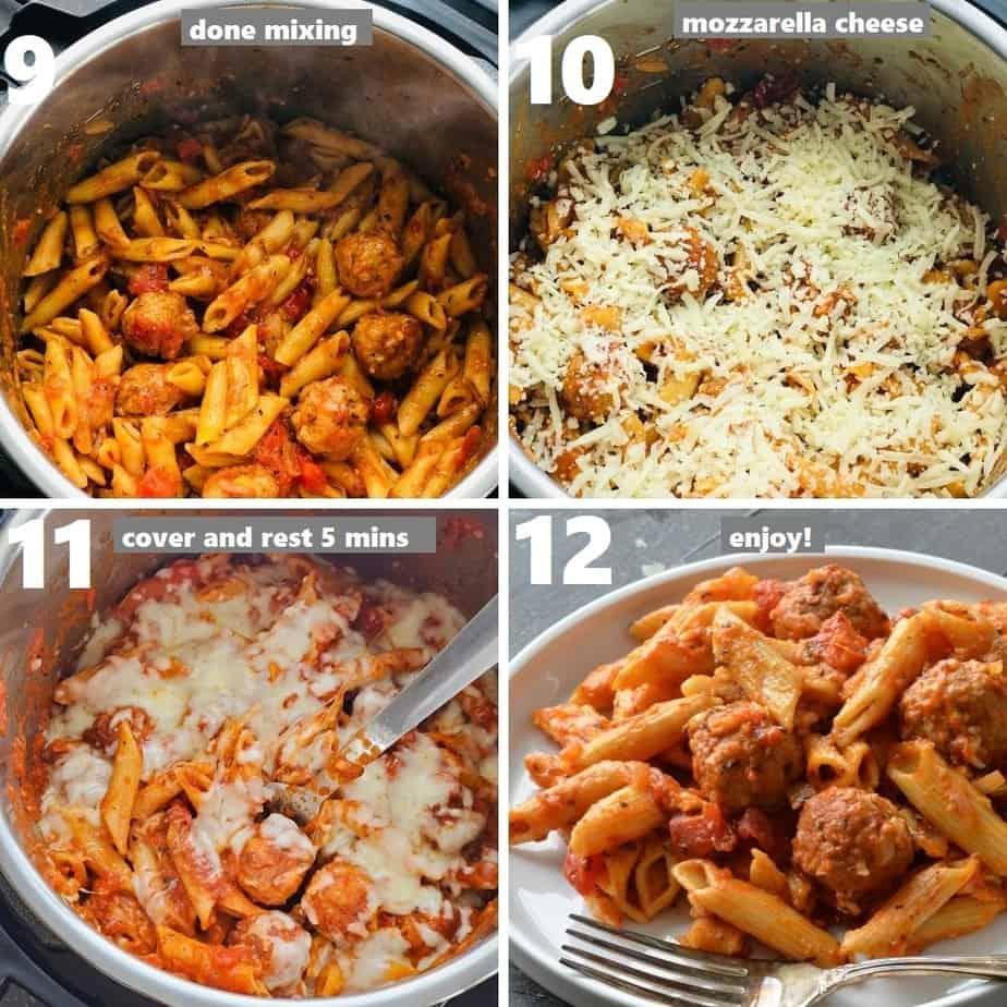 Penne-Nudeln und Fleischbällchen mit Mozzarella-Käse zum Servieren