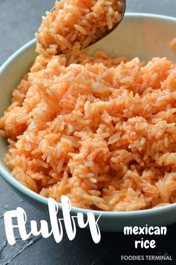 fluffy Mexican rice Instant pot served in a bowl with a spoon