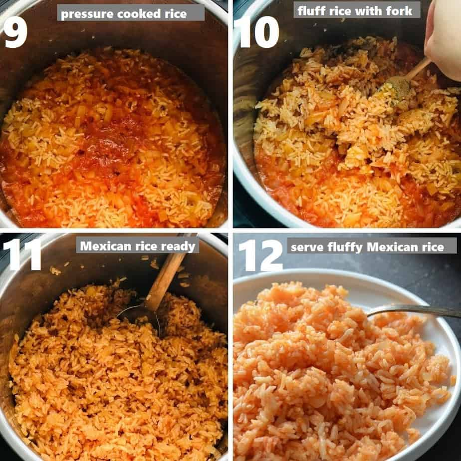 Fluffing Mexican rice
