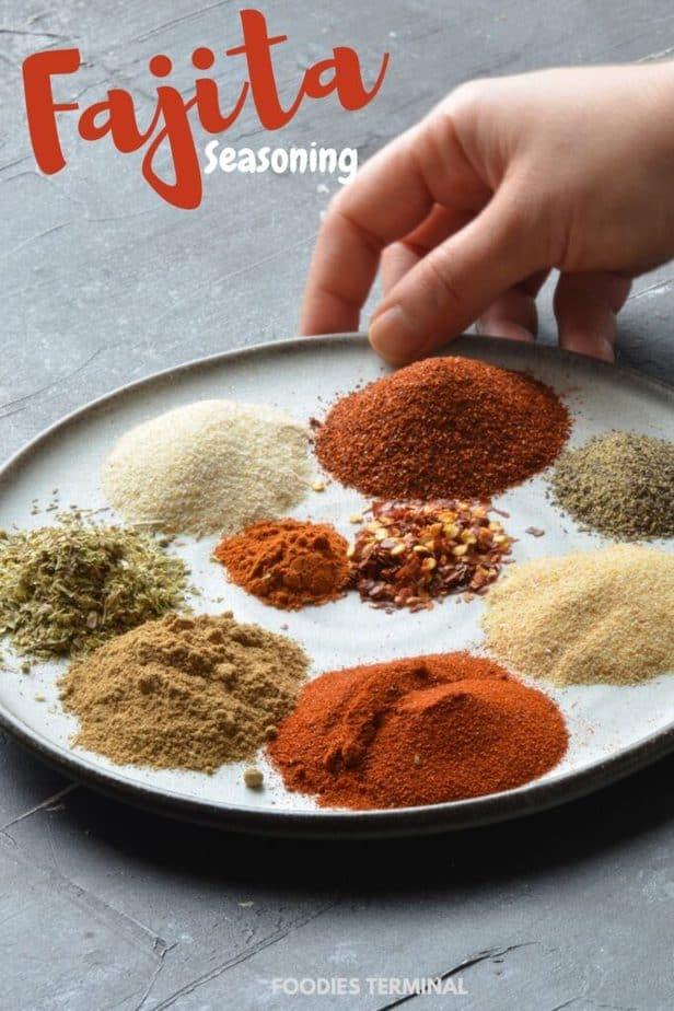 best homemade fajita seasoning in a grey plate