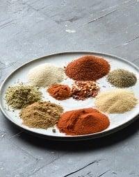 fajita seasoning spices in a beige plate