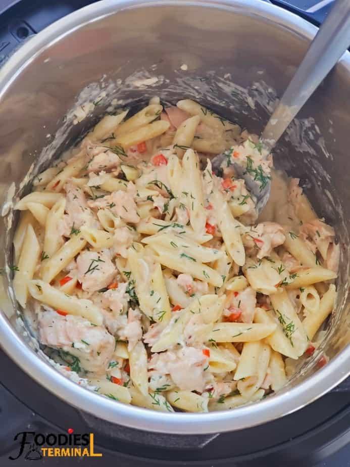 pressure cooker creamy salmon pasta in instant pot