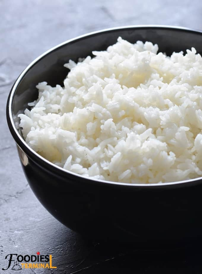 perfect jasmine rice instant pot in a black bowl