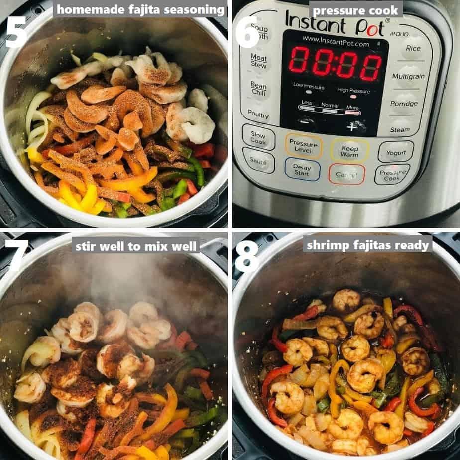 pressure cooking shrimp fajitas