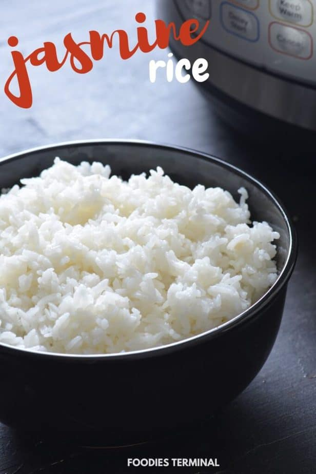pressure cooked white jasmine rice served in a black bowl