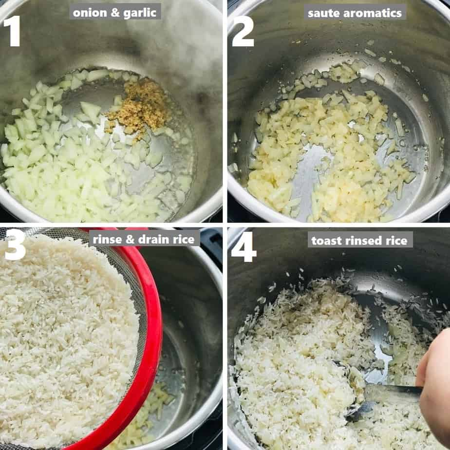 sautéing aromatics and toasting rice in instant pot