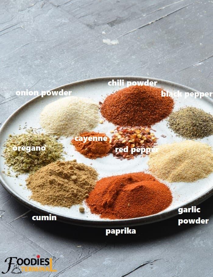Homemade Fajita seasoning ingredients on a grey plate kept on a black surface