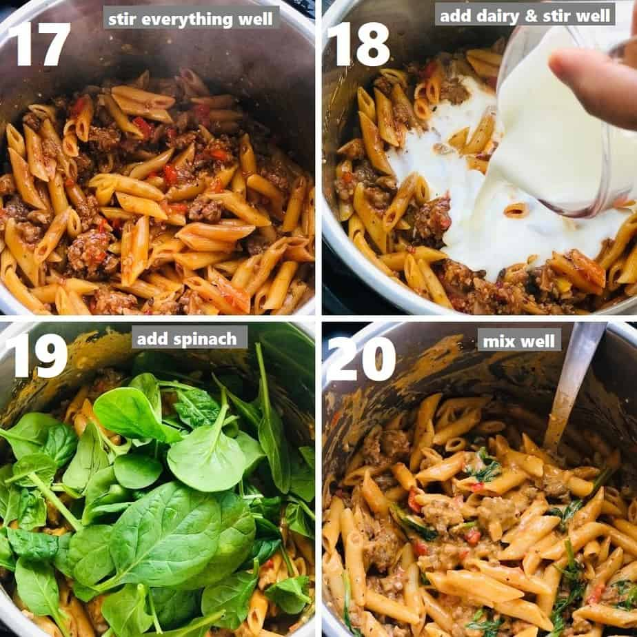 adding dairy, spinach in instant pot to make creamy italian sausage pasta