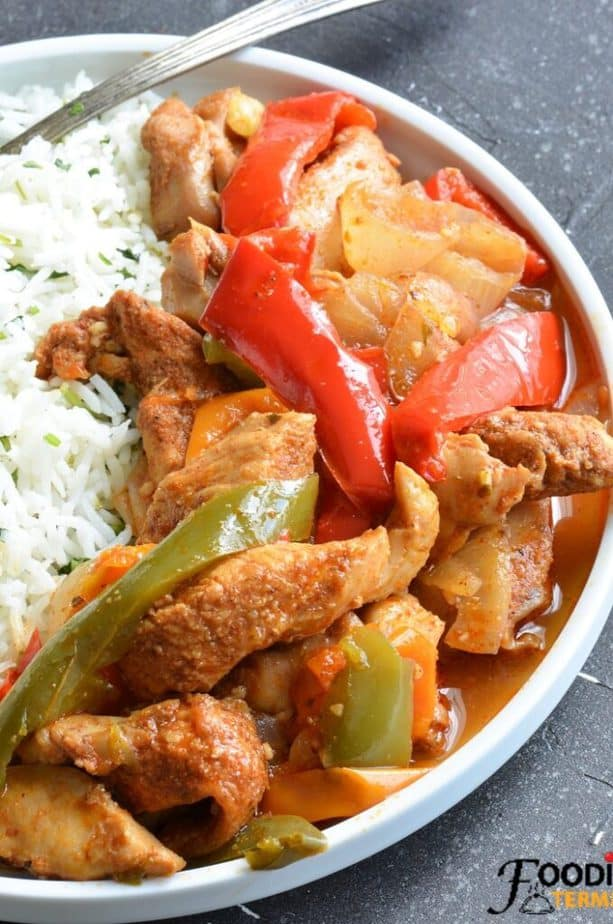 fajita chicken instant pot recipe on a white plate