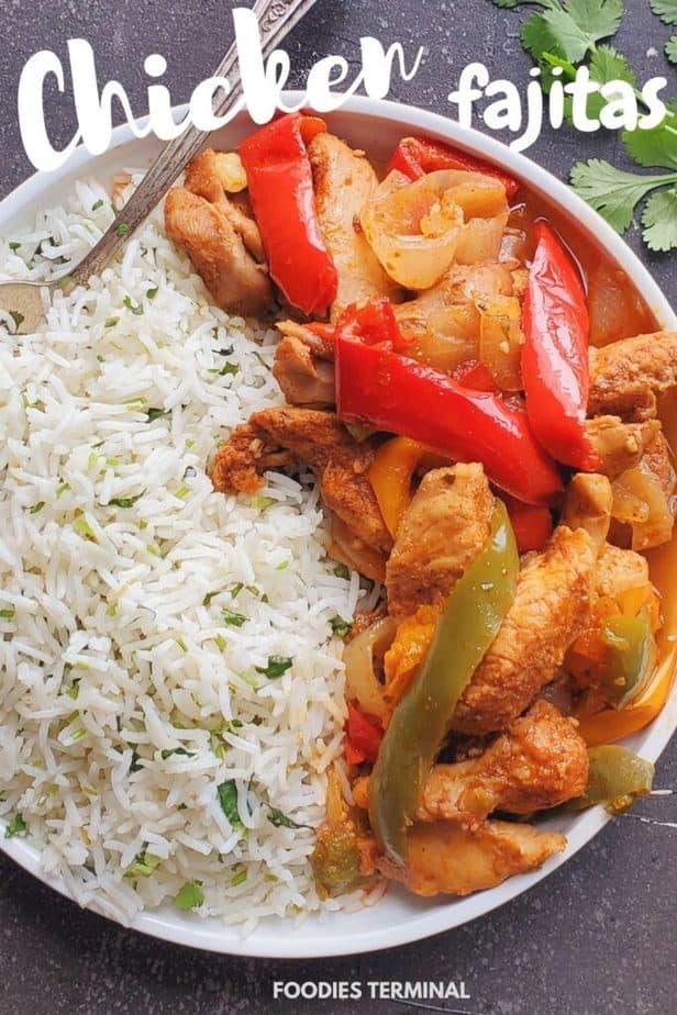 pressure cooker fajita chicken served with cilantro lime rice on a white plate