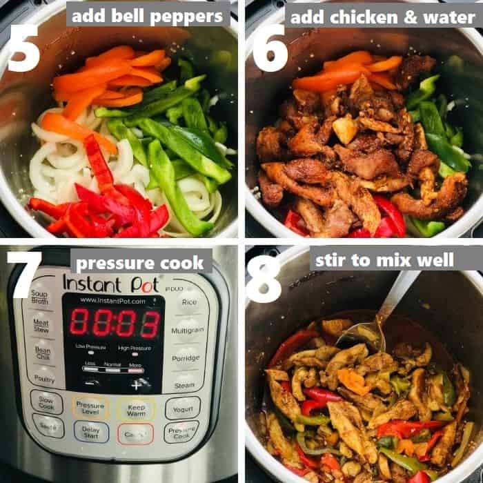 pressure cook chicken fajitas