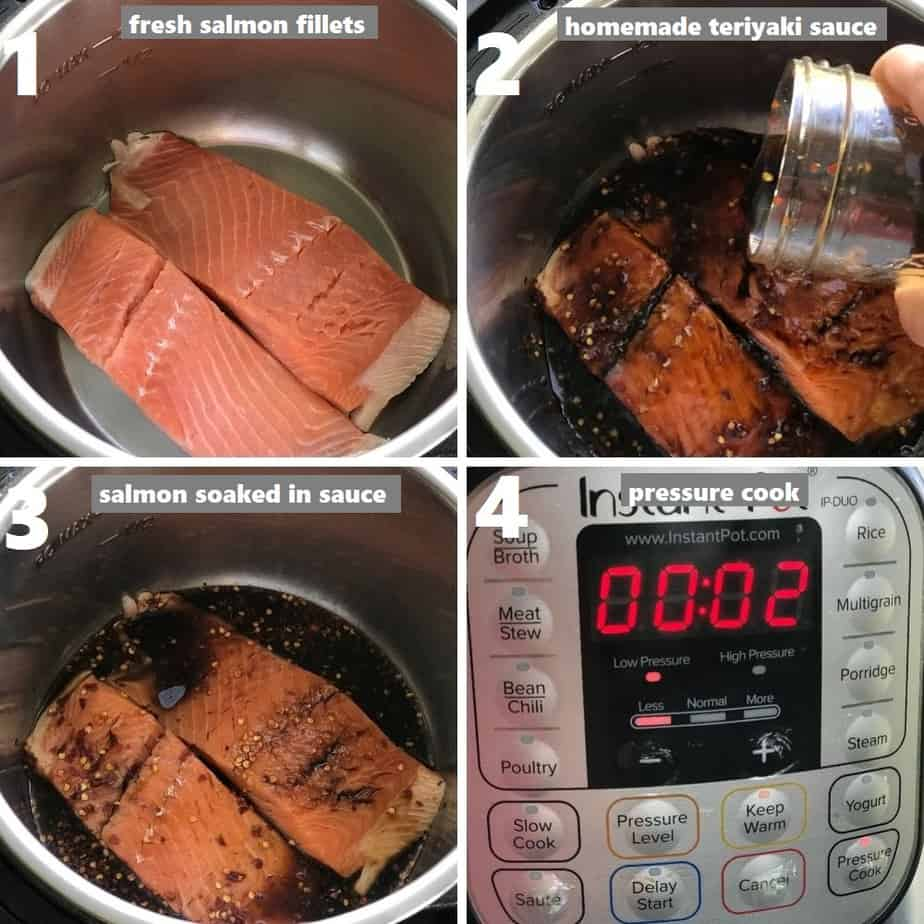 pressure cooking salmon fillets with homemade teriyaki sauce