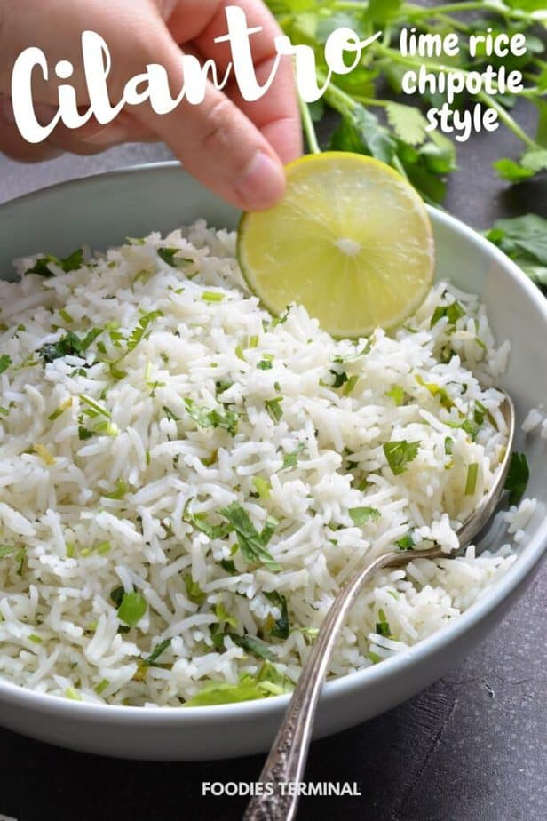 cafe de rio cilantro lime rice instant pot recipe in a bowl with a silver spoon