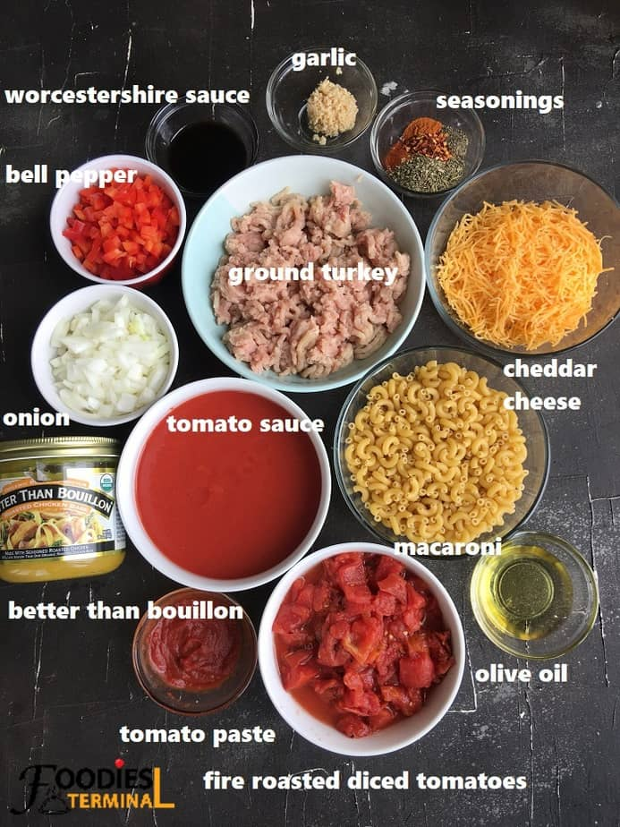 recipe ingredients on a black board