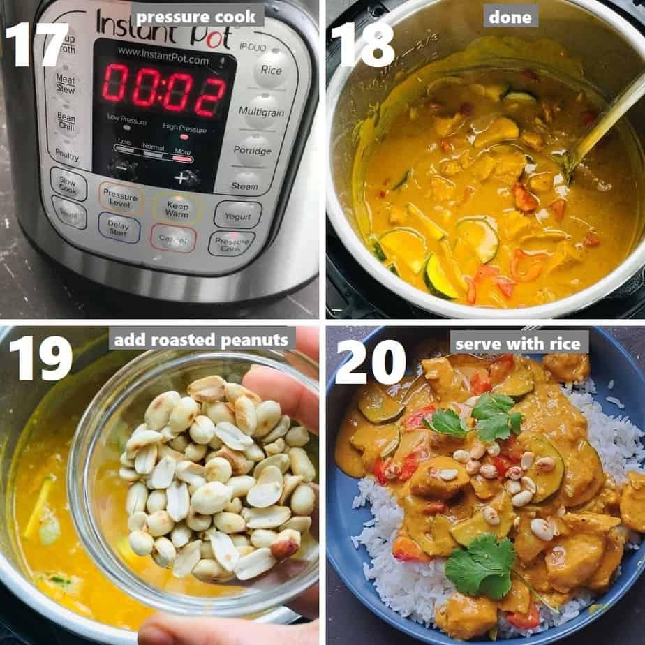 pressure cooking thai peanut chicken & served it over jasmine rice on a grey plate