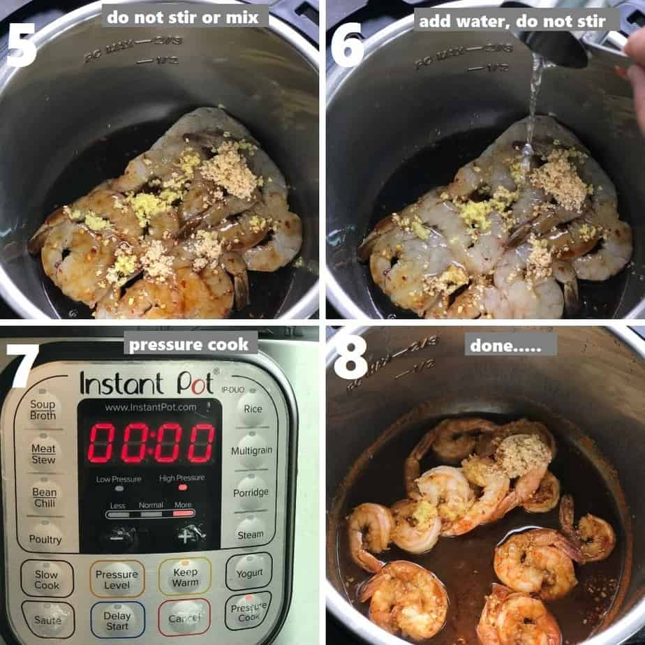 pressure cooking shrimp in instant pot with homemade stir fry sauce