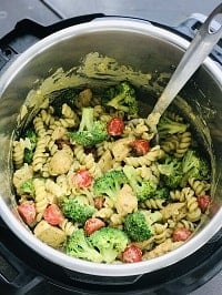 creamy instant pot pesto chicken pasta is ready