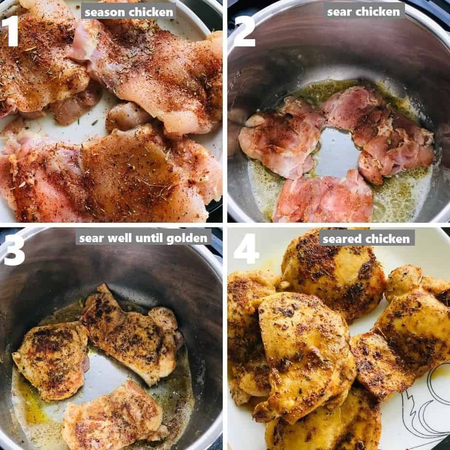 searing chicken thighs in instant pot