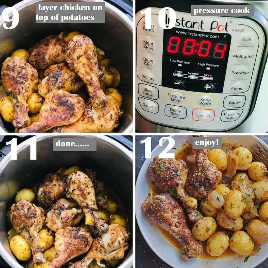 pressure cooking chicken drumsticks and baby potatoes