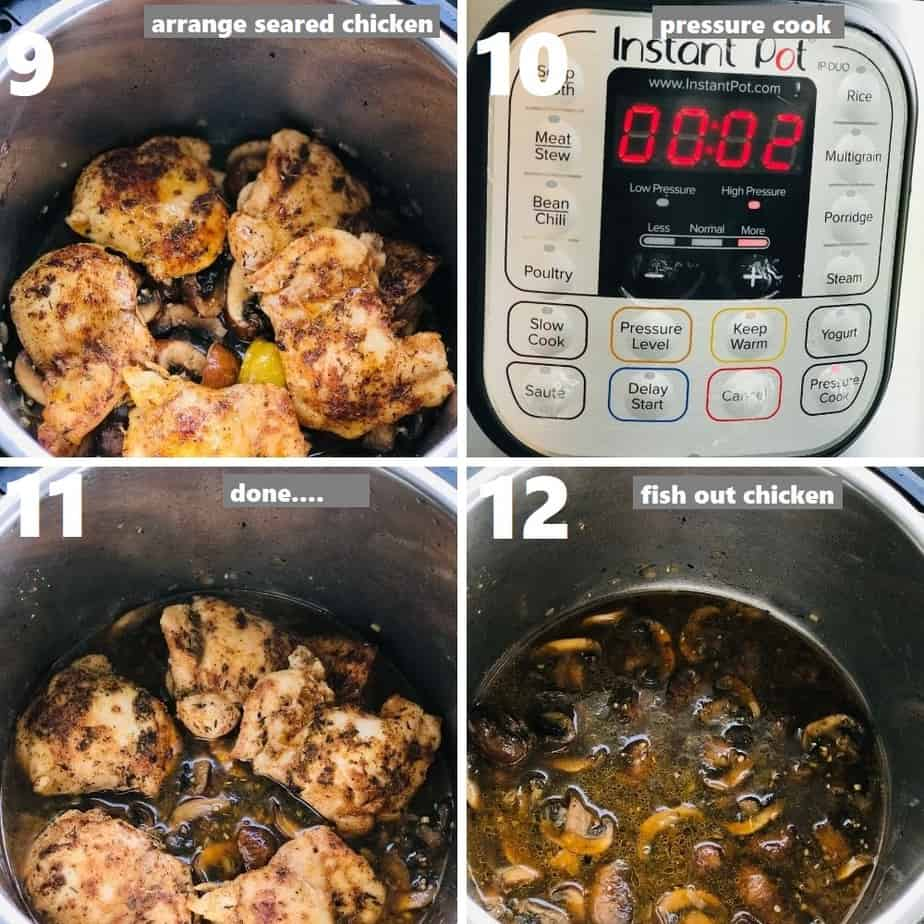 pressure cooking chicken and mushrooms