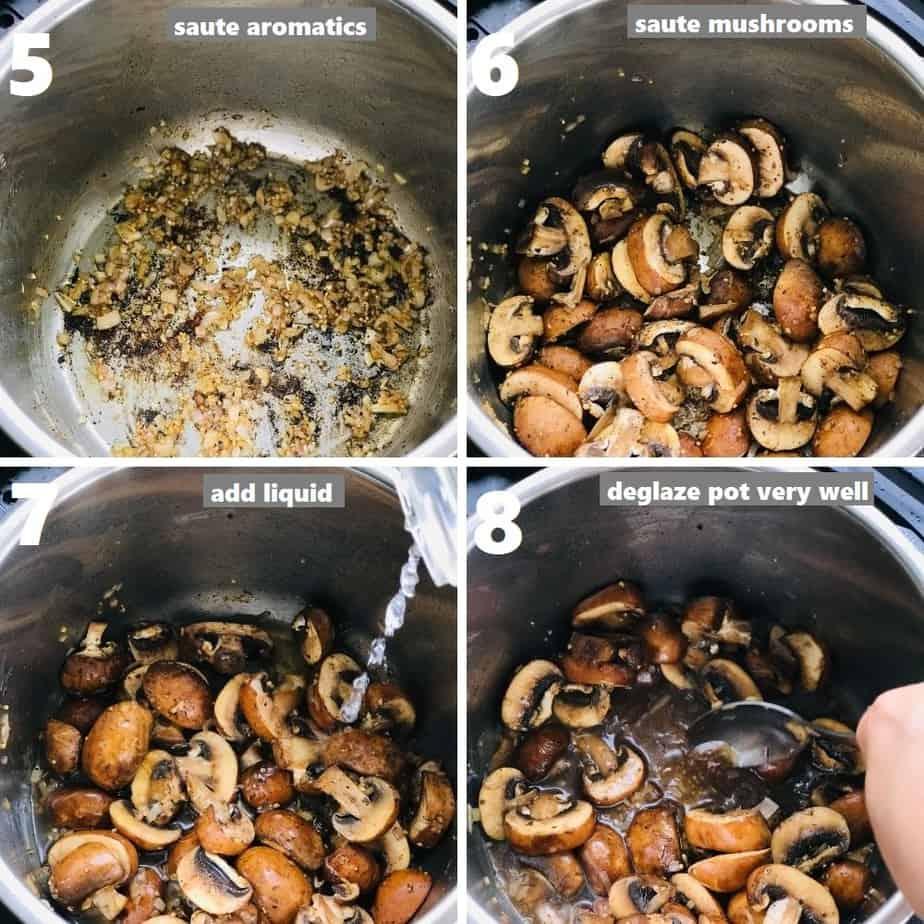 sauteing aromatics & deglazing pot with a steel ladle